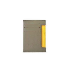 Porte-Documents Petite Maroquinerie Gris et Jaune Devant