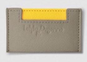 porte carte en cuir grainé jaune et gris